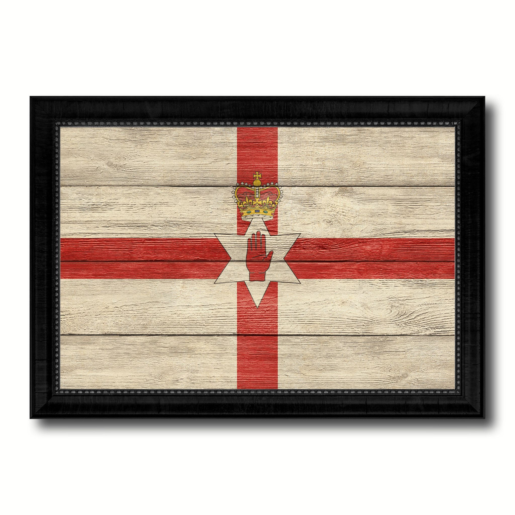 North Irish Ulster City Northern Ireland Country Texture Flag Canvas Print Black Picture Frame