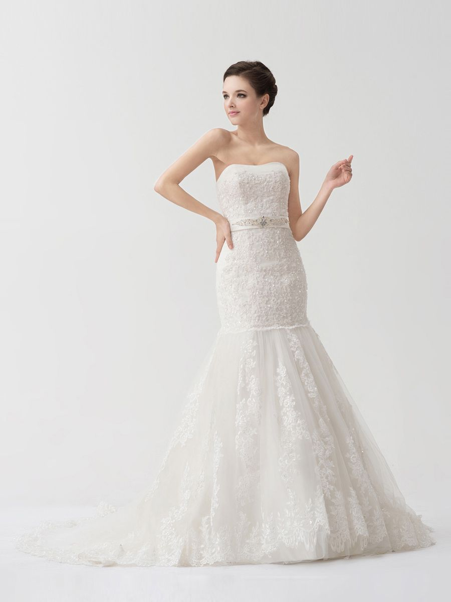 Flattering lace over satin mermaid bridal gown with sash customer
