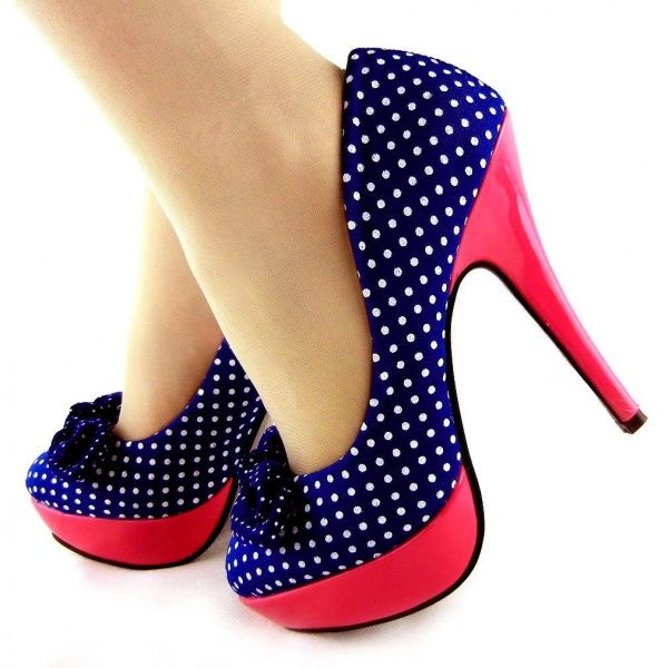 ff9b4ed4c05 Ladies Polka Dots Bow EVE Platform Stiletto High Heels Court Shoes ...