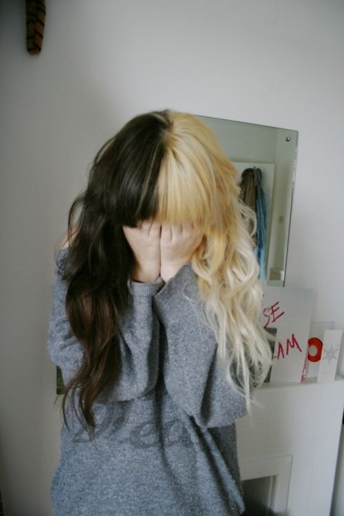 I Ve Always Wanted My Hair Like This But Never Had The Balls To Do It Split Dyed Hair Hair Styles Half Dyed Hair