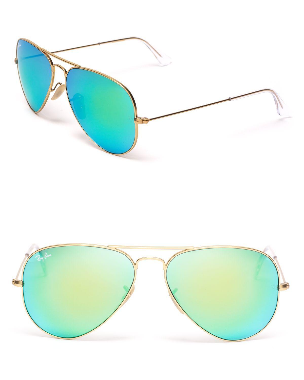 0286d91f88 Ray-ban Mirror Aviator Sunglasses in Gold (Matte Gold Green)