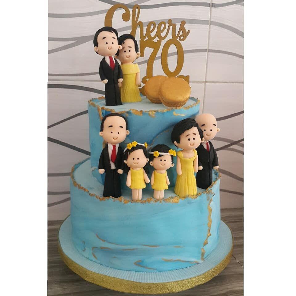 A family themed cake for a 70th birthday lalatjahjono