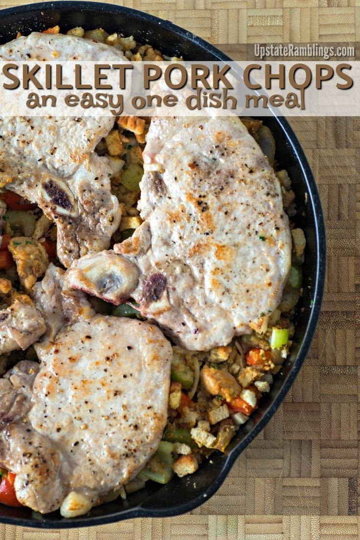 Lighter Pork Chop and Stuffing Skillet Check out this recipe for cast iron skillet pork chops with stuffing! It is a quick and easy family meal cooked in a cast iron skillet for an easy one dish meal.