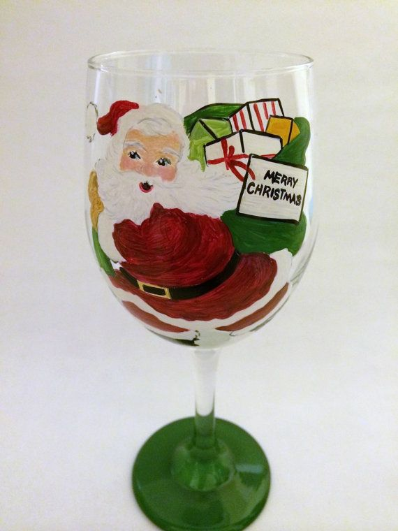 Vintage Santa Merry Christmas Wine Glass by thepaintedflower