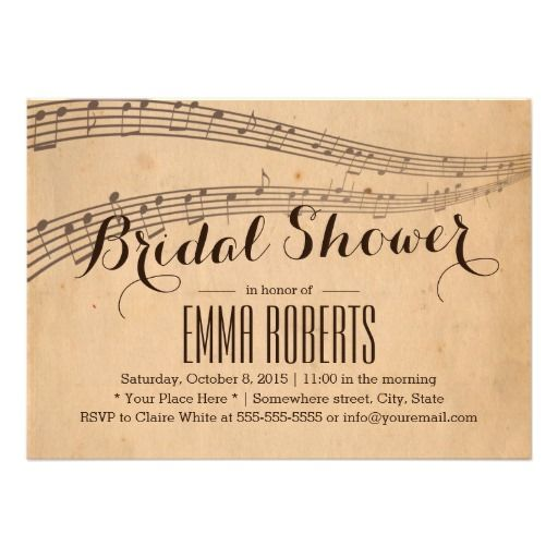 vintage music notes bridal shower invitations