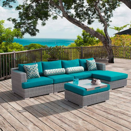 Sirio Niko 6 Piece Deep Seating Sectional Peacock 21