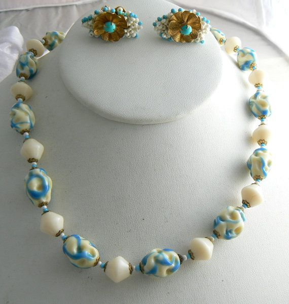 Miriam Haskell cream and turquoise colored by VintageLaneJewelry