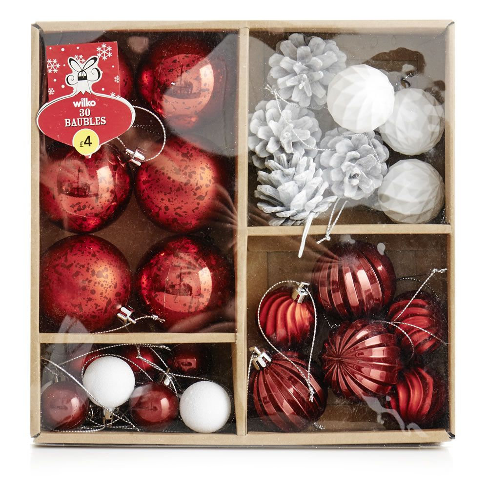 Wilko Christmas Bauble Decorations Red and White Assortment 30pk Nordic Winterland £4