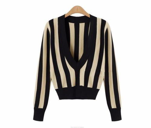 Black-amp-Apricot-V-Neck-Long-Sleeve-Stripes-Knitwear-Knitted-Jumper-Pullover-Top