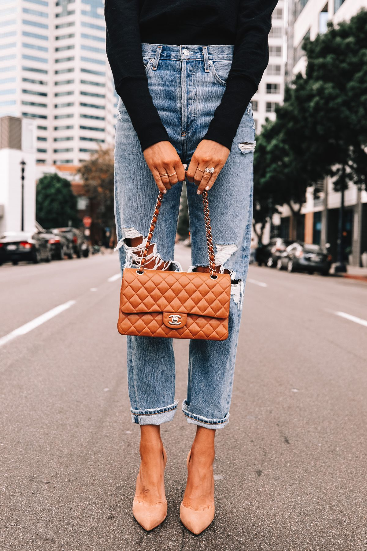 black sweater outfit, black sweater and jeans, Chanel bag, ripped jeans outfit,