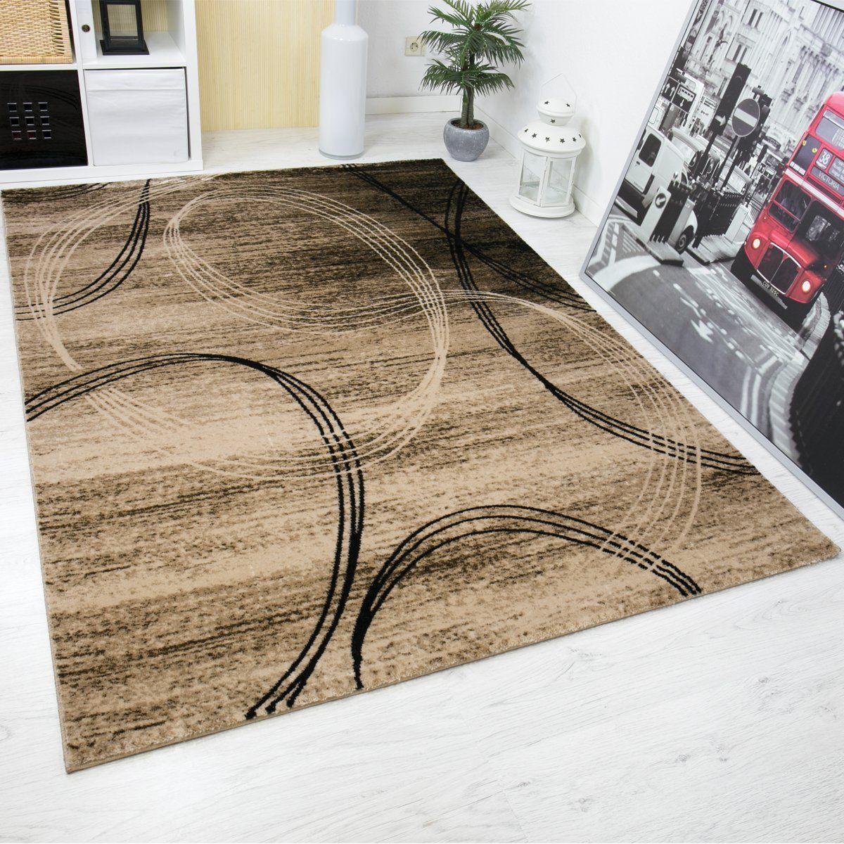 klassischer wohnzimmer teppich sehr dicht gewebt kreisel muster ... - Teppich Wohnzimmer Braun
