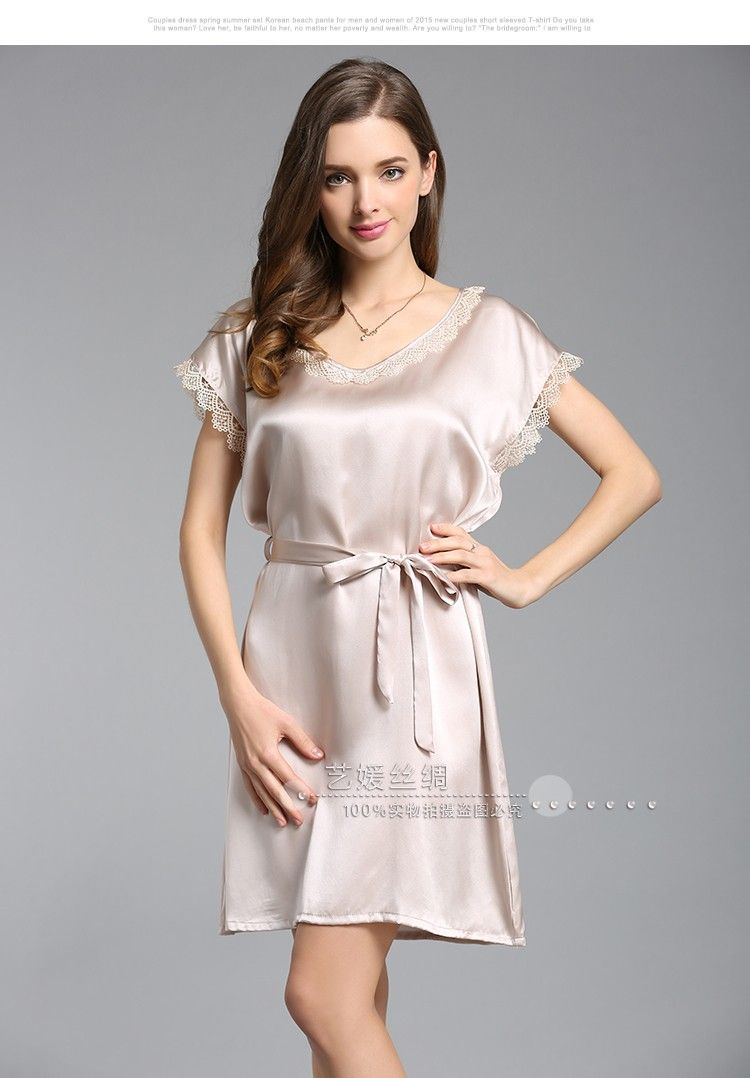 a28e070f6f 100% Genuine Silk Nightdress Female Cute Lace Round Neck Nightgowns Short  Sleeve Summer Silk Women Sleepwear - MISS LADIES