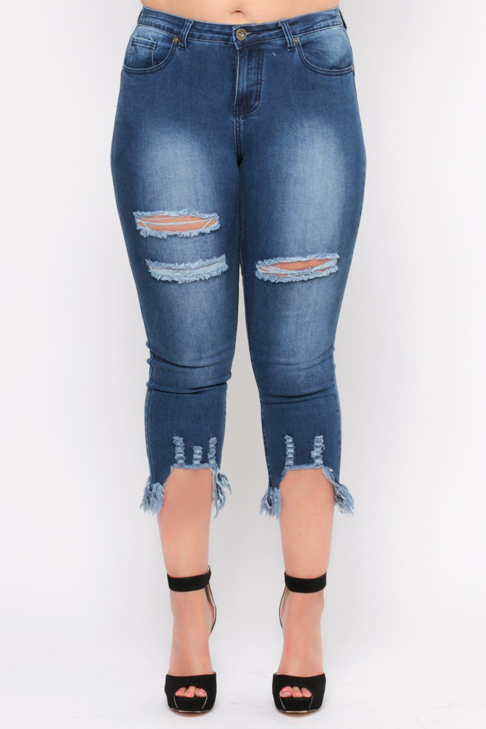 1788face91 Plus Size Distressed GoGo Star Fray Hem Jean - Dark Wash Trendy Plus Size  Clothing