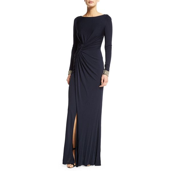 David Meister Embellished-Cuff Ruched Gown ($320) ❤ liked on ...
