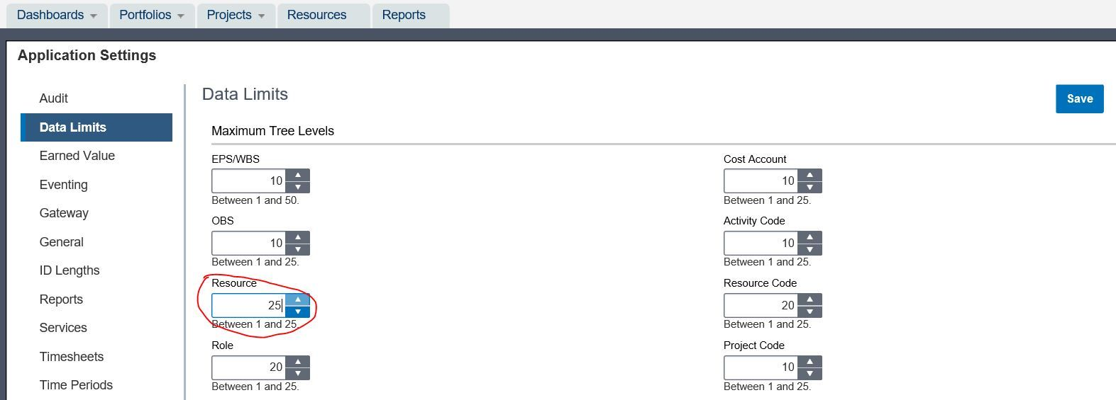 Primavera P6 Api Error Resource Tree Maximum Level Limit Of 10 Levels Application Settings Cost Accounting
