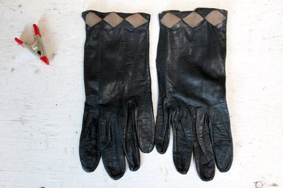 56a530c5a 1960s Ladies Kid Skin Leather Black Driving Gloves; Vintage Black Leather  Gloves, Vintage Accessory