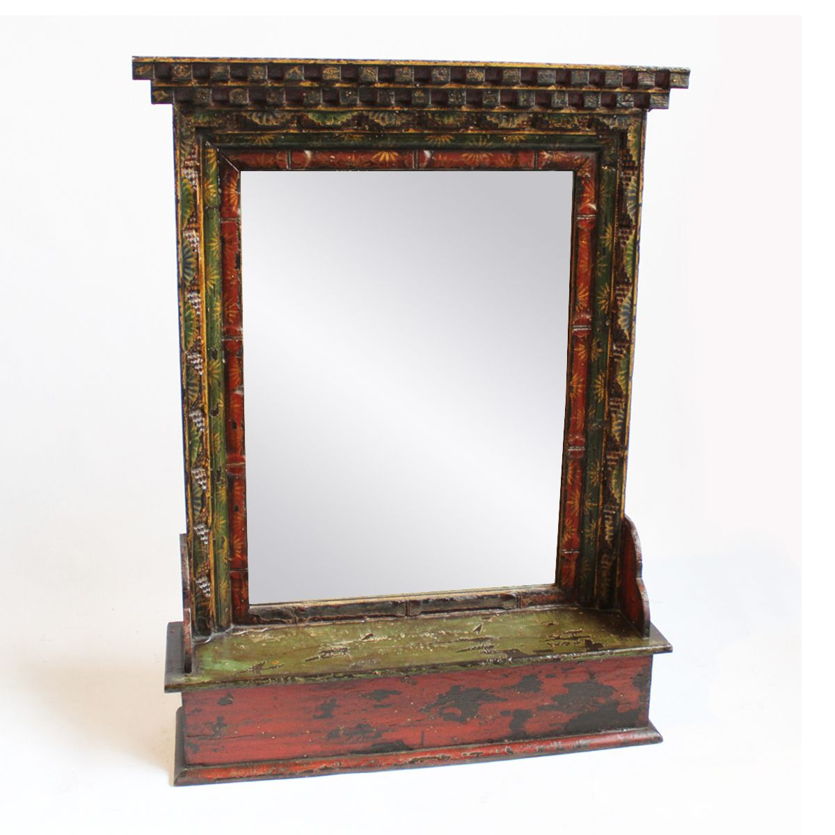 Tibet Carved wood Painted mirror frame.  Free standing or wall mount mirror frame with carved wood border and painted detail.