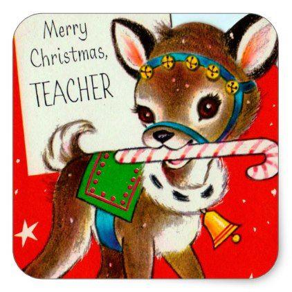#Vintage retro Christmas reindeer teacher sticker - #Xmas #ChristmasEve Christmas Eve #Christmas #merry #xmas #family #kids #gifts #holidays #Santa