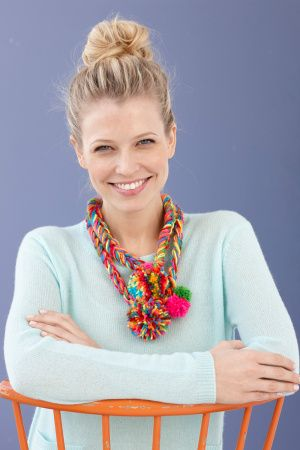 Kids will love the rainbow-like colors of Bonbons yarn used to craft this necklace.