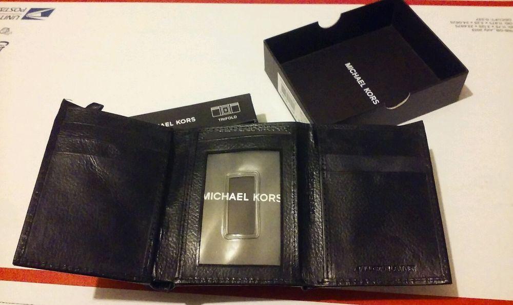 Michael Kors Black Leather Trifold Wallet Free Gift #MichaelKors #Trifold