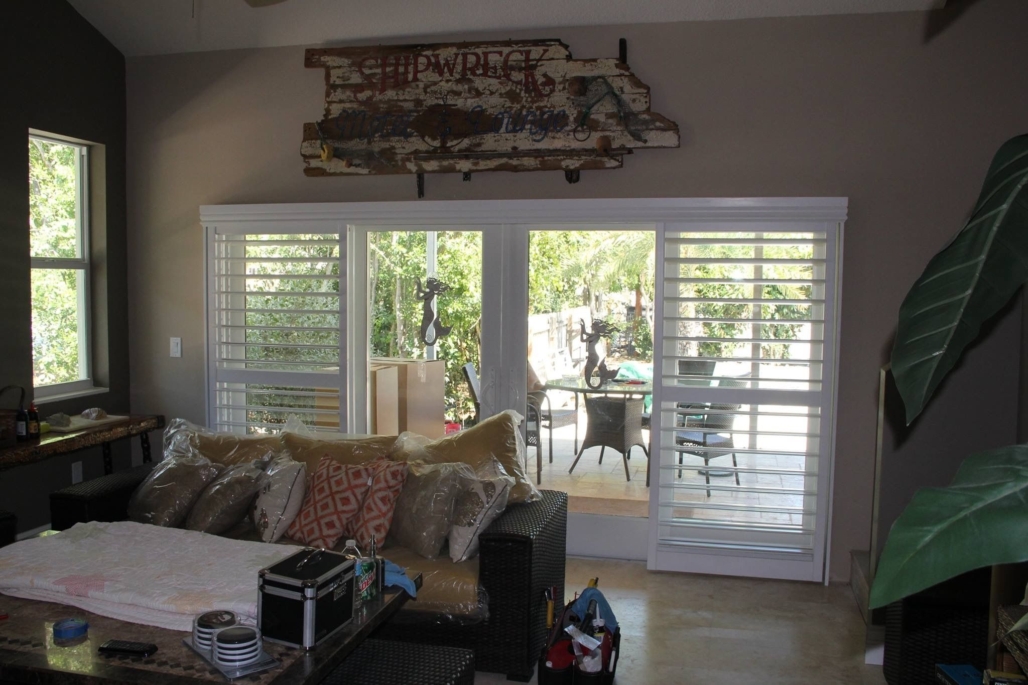 Bypass Style Plantation Shutters On Sliding Glass Doors All The