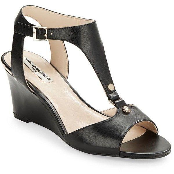 Karl Lagerfeld Paris Women's Affre Leather T-Strap Wedge