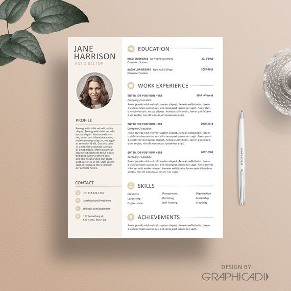 Resume Template For Microsoft Word And Apple Iwork Pages  Instant