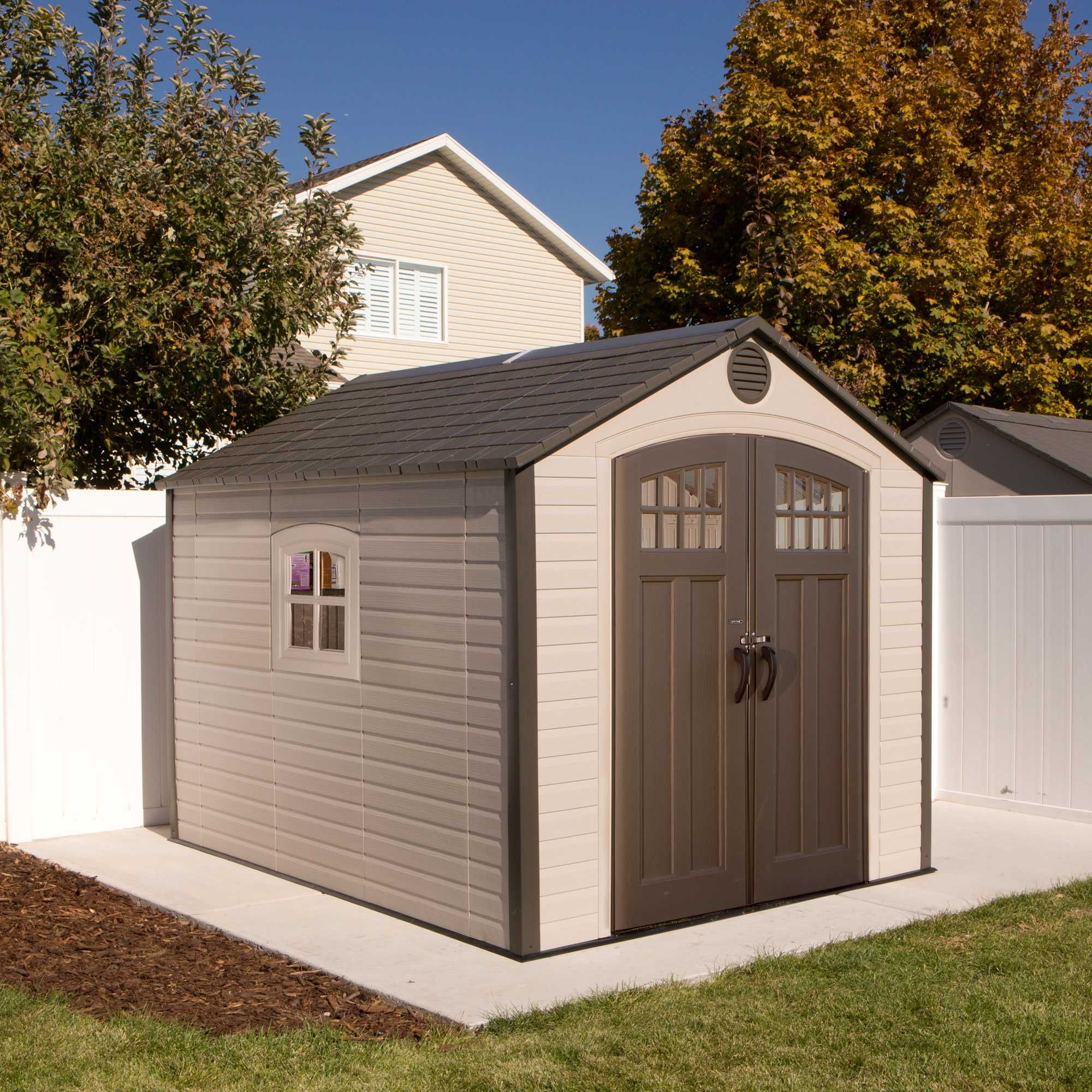 the lifetime 8 x 10 outdoor storage shed features slider latch 8 pane doors 1 ridge skylight 1 shatter proof window 2 screened vents