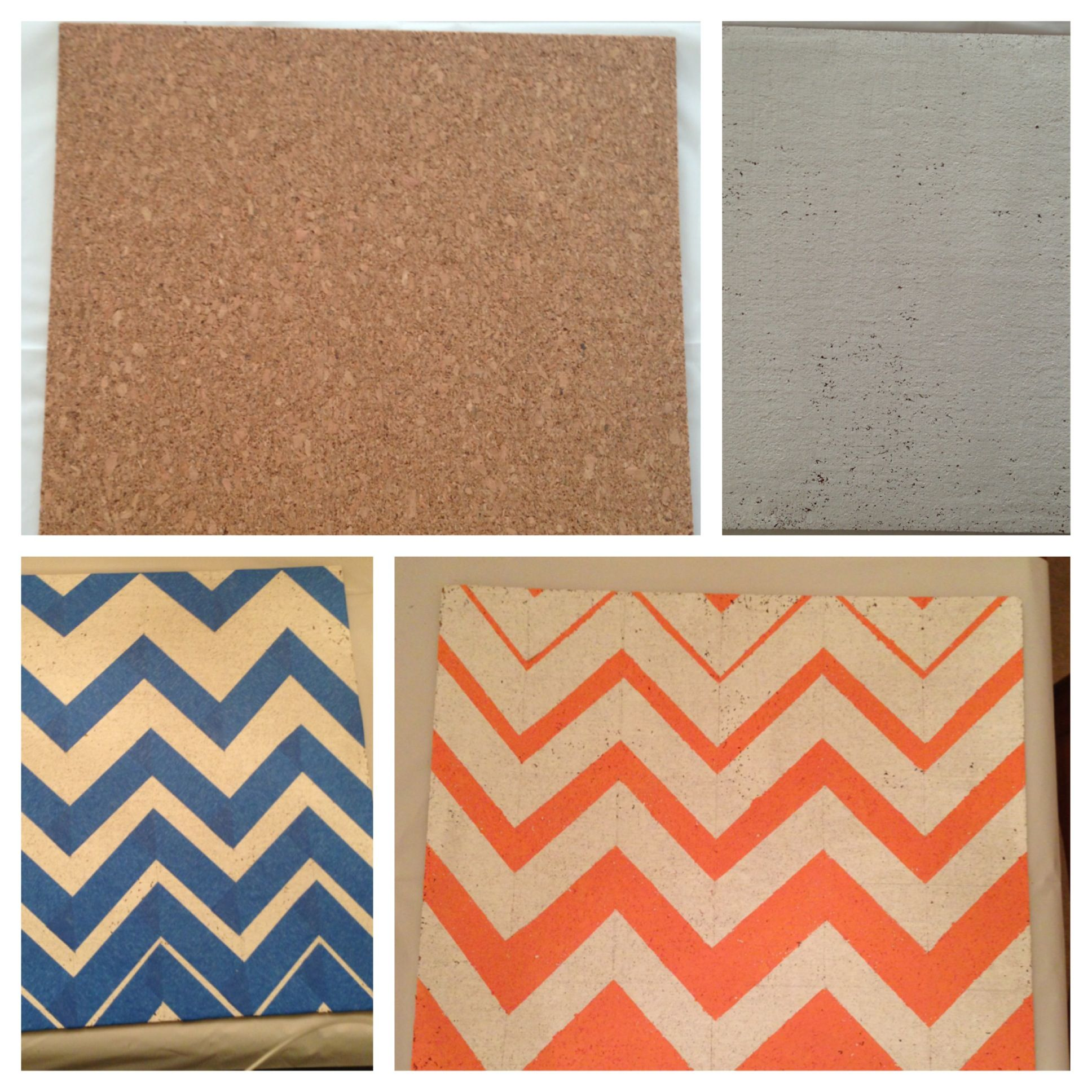 Painted Cork Board Squares Hot Glue To