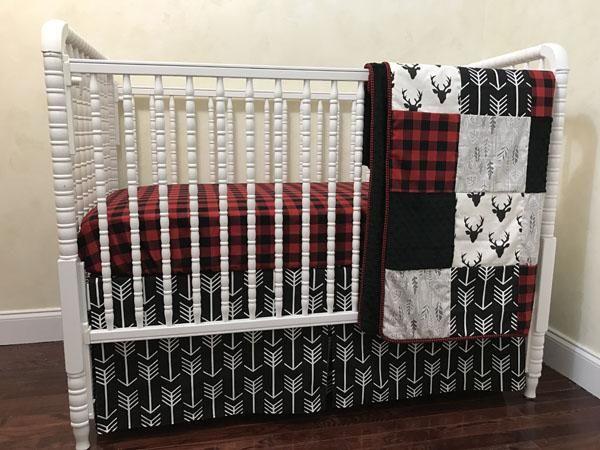 Red Buffalo Plaid Woodland Crib Bedding Set Adrian Boy