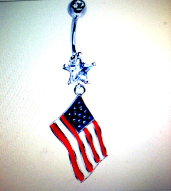 American Flag Belly Button Ring Clothes Health Beauty Piercing Schmuck
