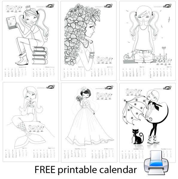 Colouring calendar for girls
