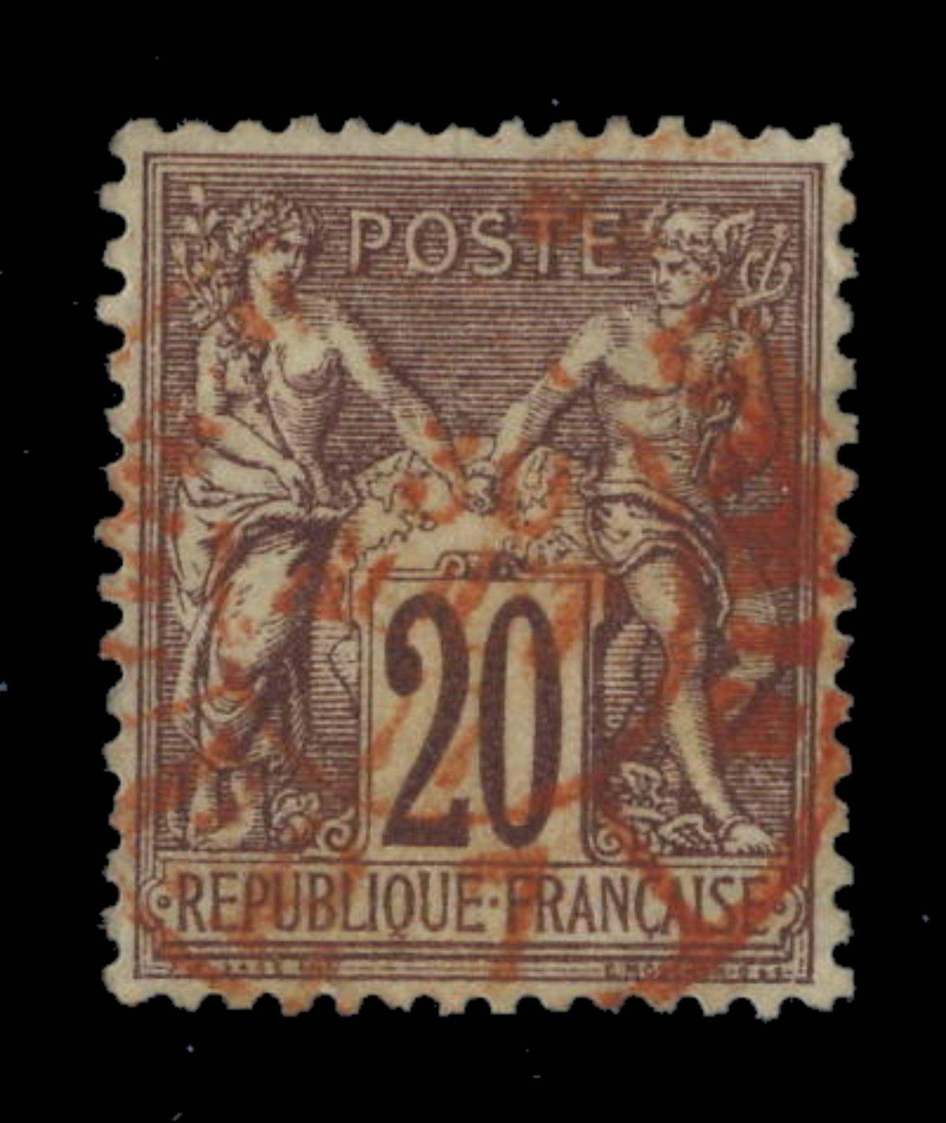 TYPE SAGE - 1876 - N°67 20c BRUN-LILAS (N sous B) CAD ROUGE DES IMPRIMÉS SUPERBE in Timbres, France, France: oblitérés | eBay