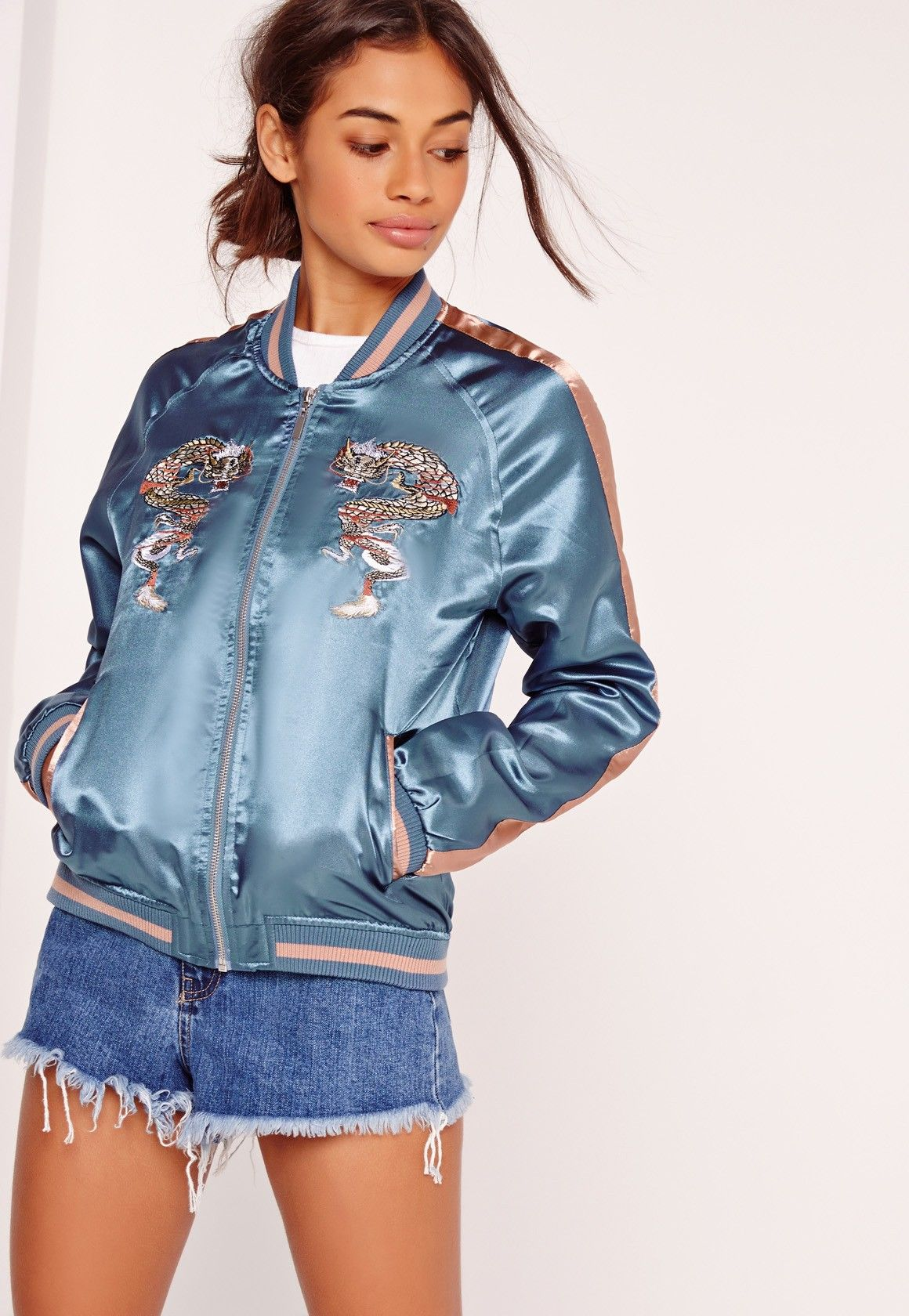 ee93389ecee Missguided - Dragon Embroidered Bomber Jacket Blue