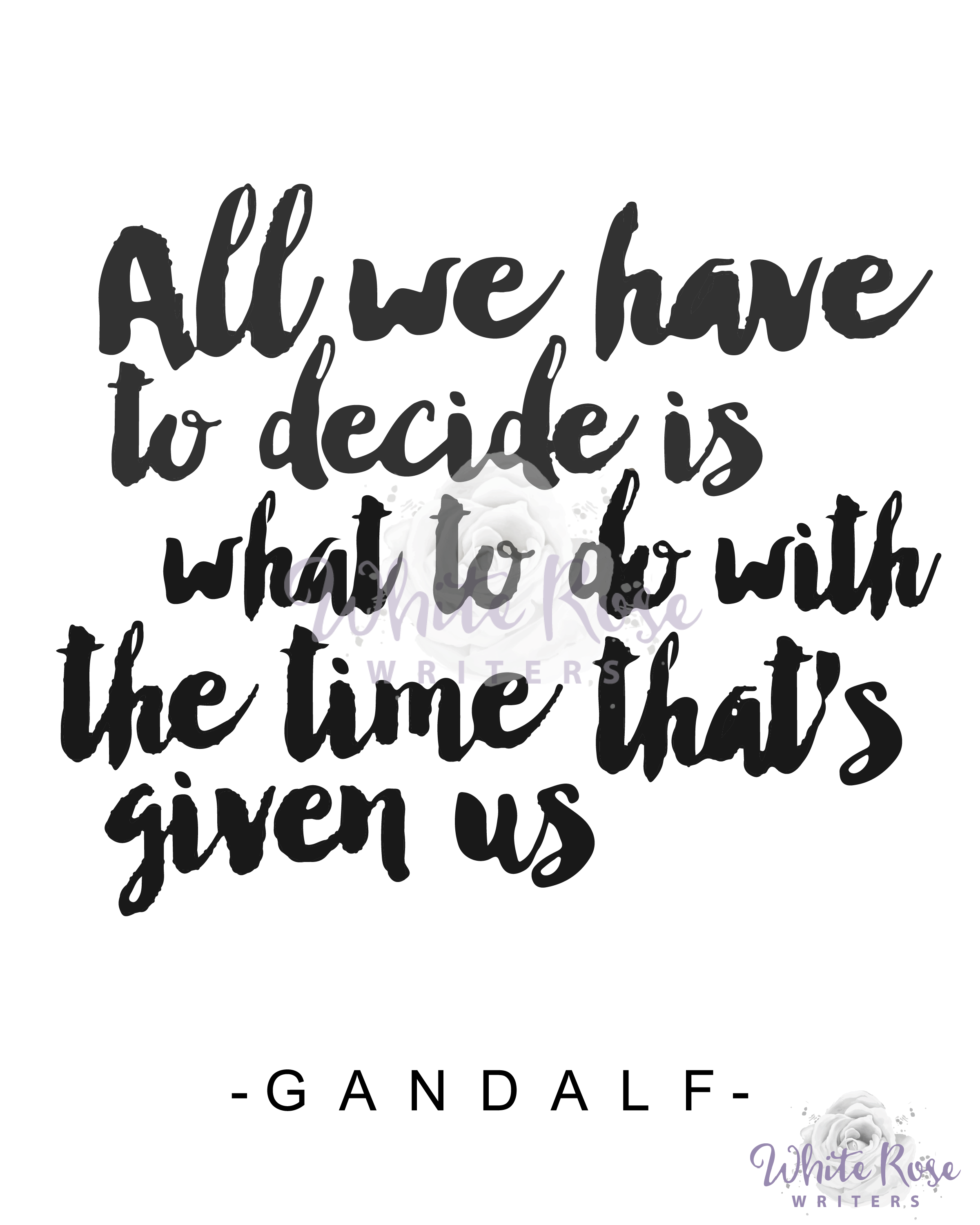 All we have to decide is what to do with the time that\'s given us ...
