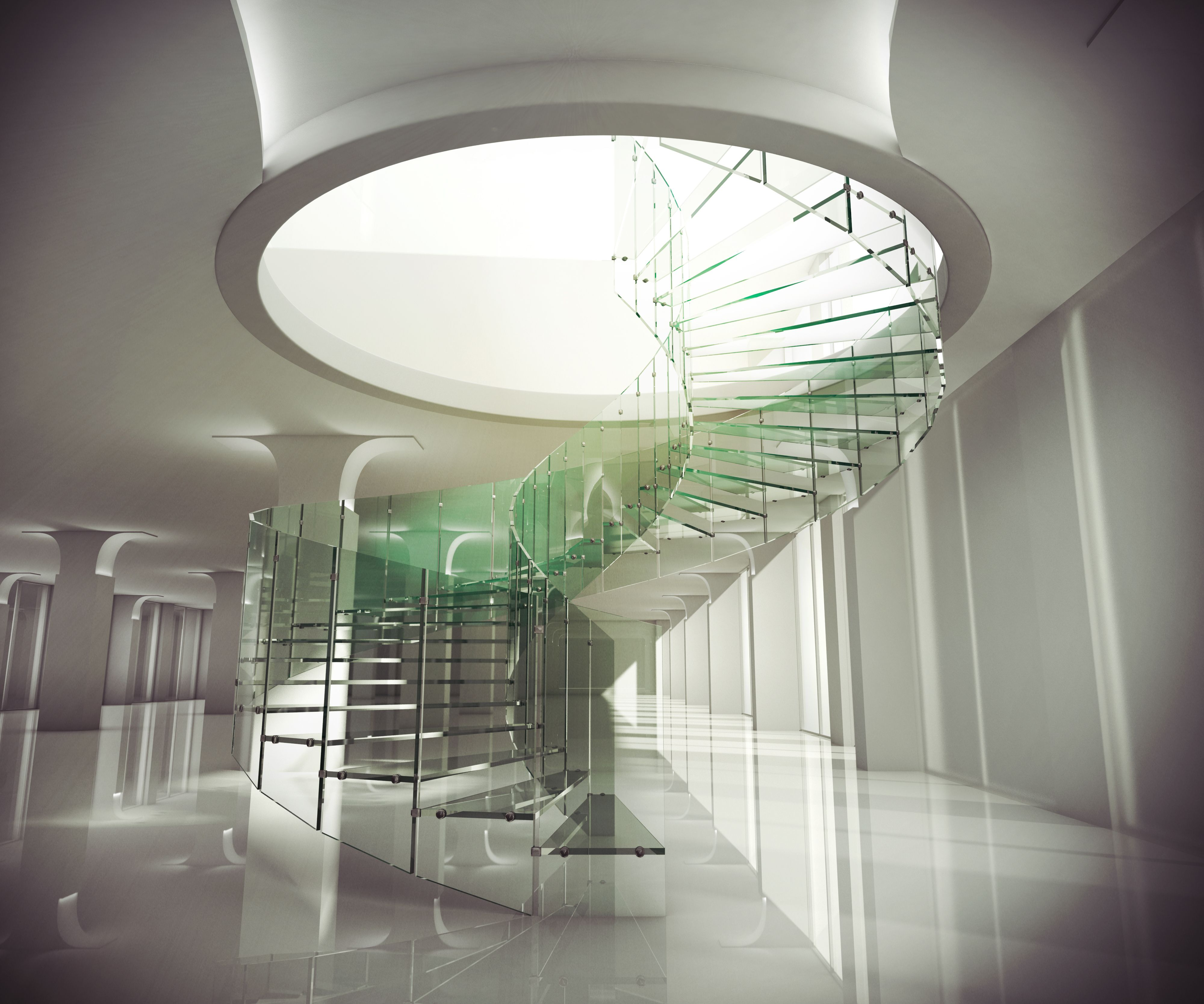 Best Beautiful Spiral Shaped Glass Staircase With Round Tops 400 x 300