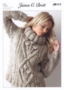 Ladies Polo Neck Sweater In Chunky Wool Knitting Pattern.
