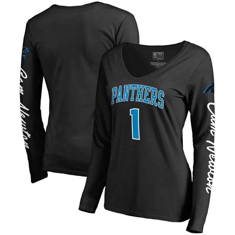 6345fc980 Cam Newton Carolina Panthers NFL Pro Line by Fanatics Branded Women's  Heartthrob Name & Number V-Neck T-Shirt - Black