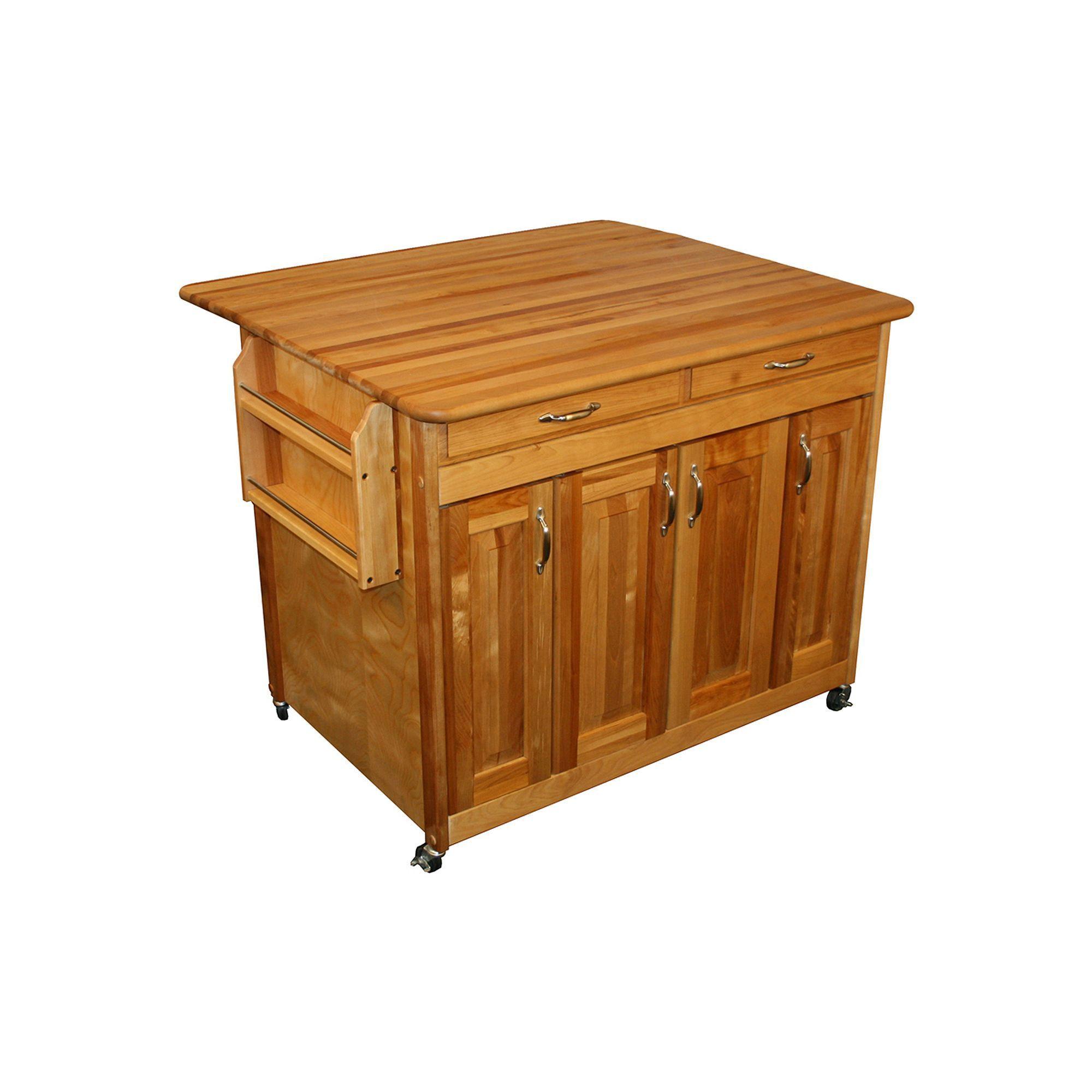 Catskill Craft Butcher Block Top Drop Leaf Kitchen Cart ...