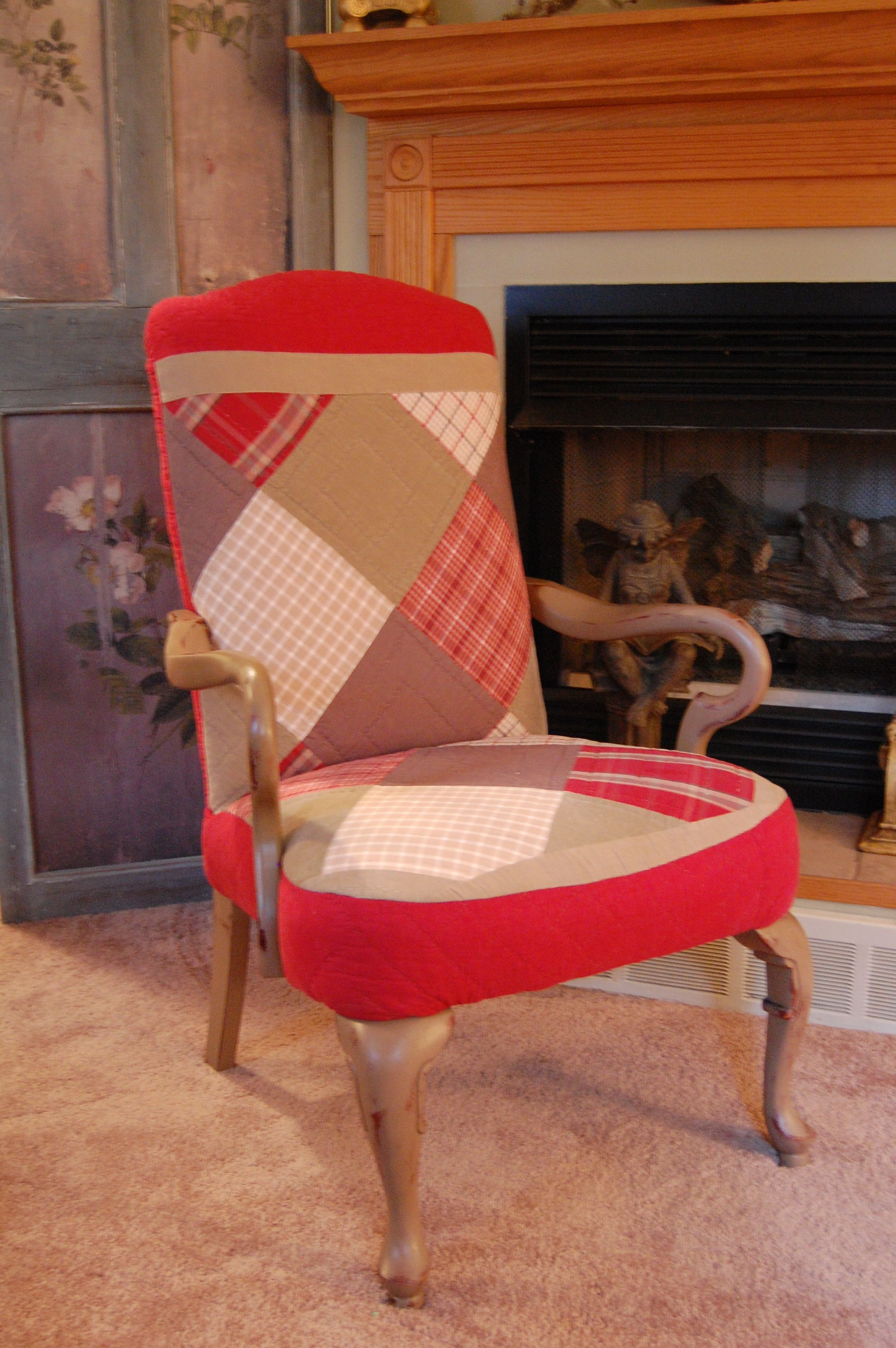 Arm chair reupholstered with vintage woolrich quilt