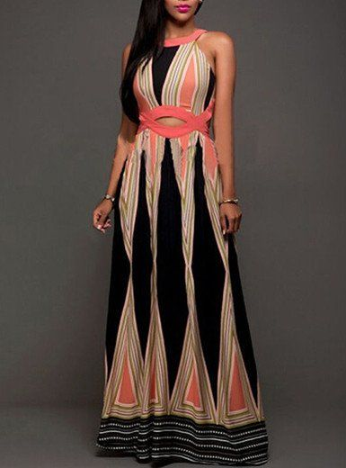 ca7c3f7d3d3e Geometric Print Sundress with Waist Detail Maxi Dress