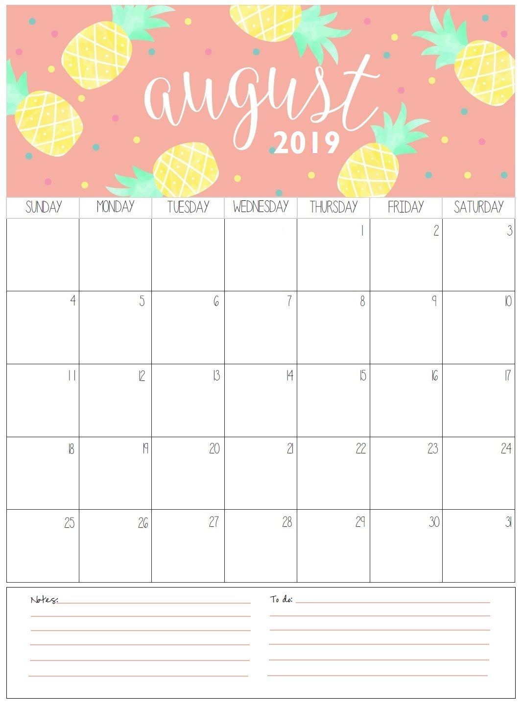 August Monthly Calendar 2019 Cute Calenders Calendar 2019