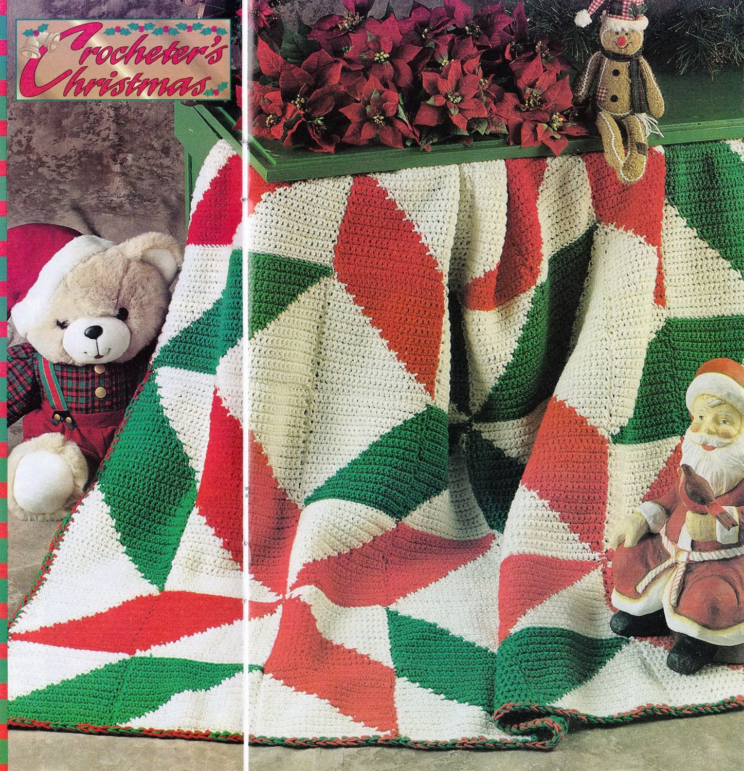 Crochet Christmas Holiday Poinsettia Afghan Pattern - PDF Dowload by PatternsforHome on Etsy