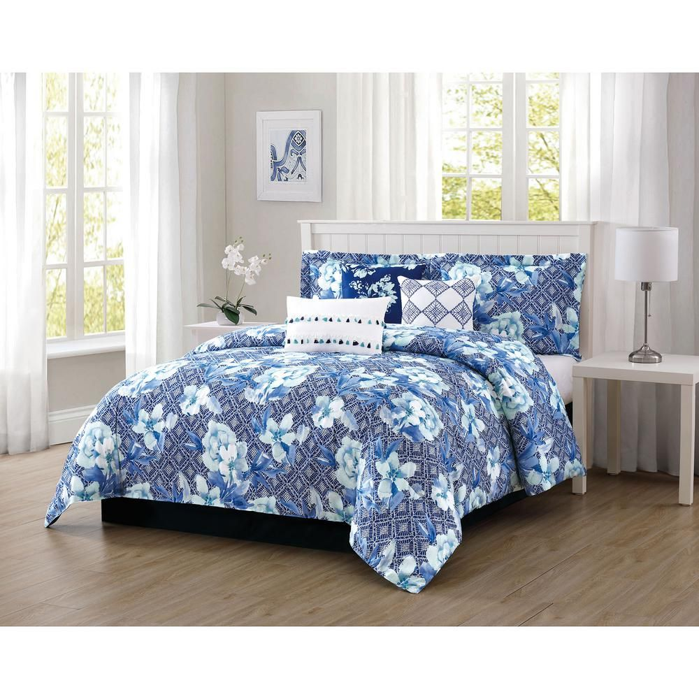 Carmela Home Ava 7 Piece Blue Queen Comforter Set Ymz009620 King