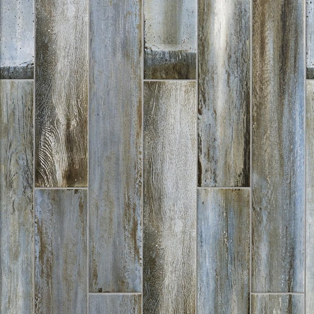 Lexington Blue Wood Plank Porcelain Tile, 6 X 33
