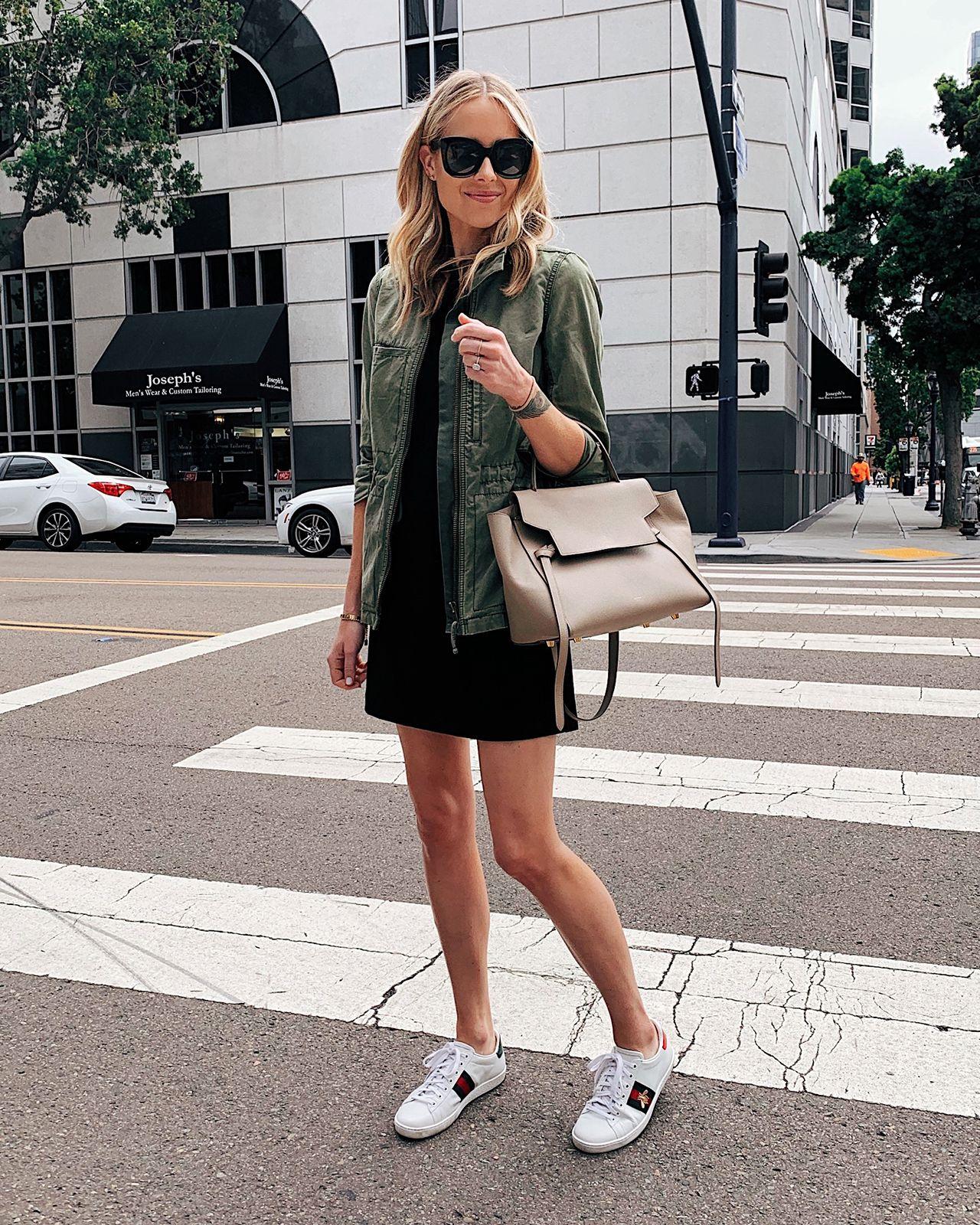 Fashion Jackson Wearing Black Dress Green Utility Jacket Gucci Ace Sneakers Celine Mini Belt Bag Fashion Jackson Sneaker Outfits Women Fashion [ 1600 x 1280 Pixel ]