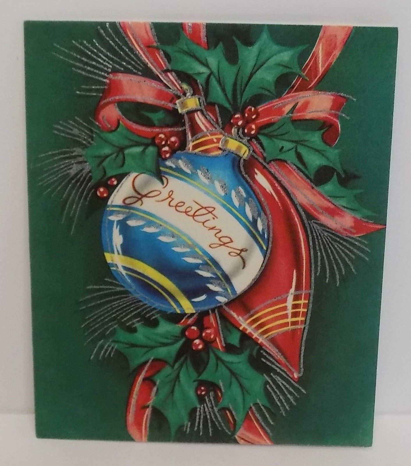 Vintage Christmas Card Greeting Glass Ornaments Silver Glitter Holly