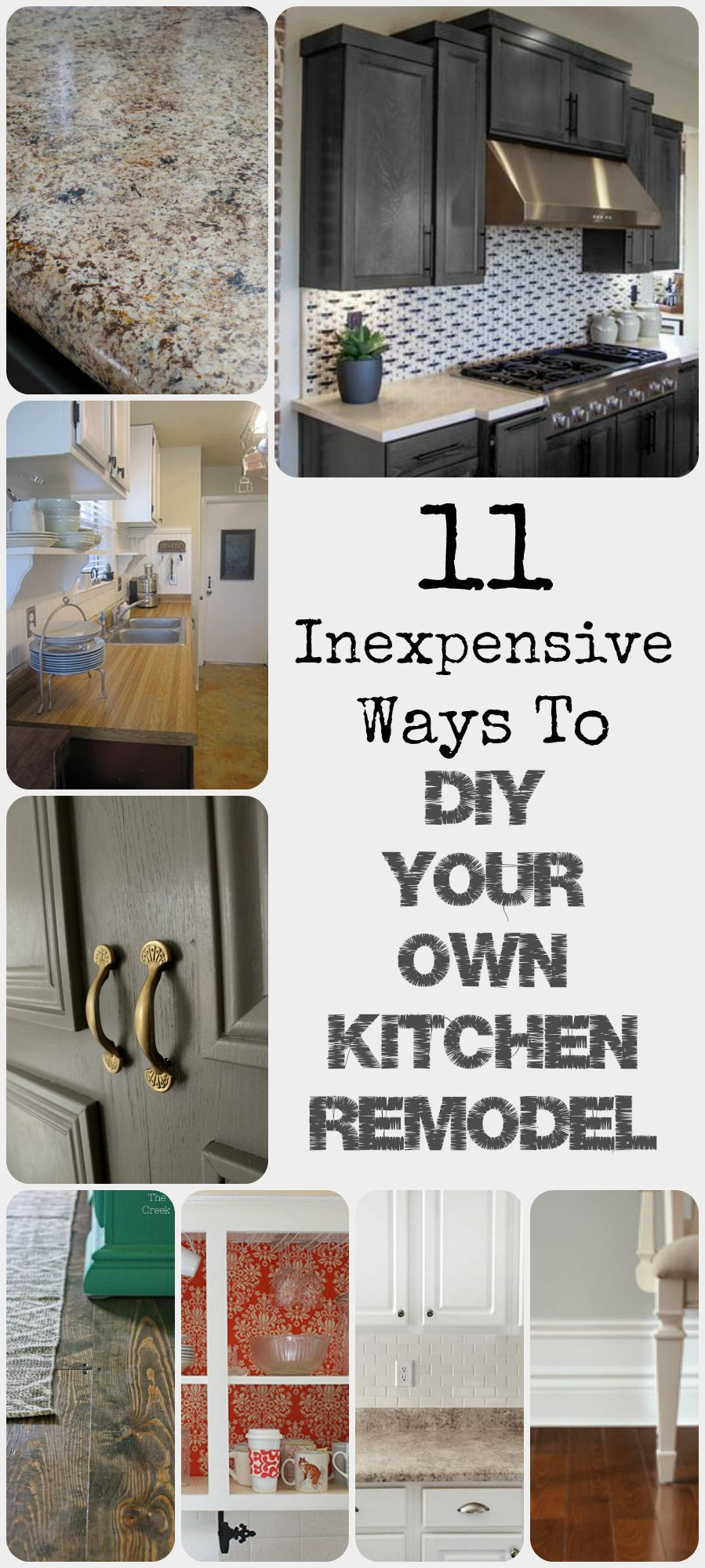 11 Ways to DIY Kitchen Remodel! | Baseboard, Countertop and Kitchens