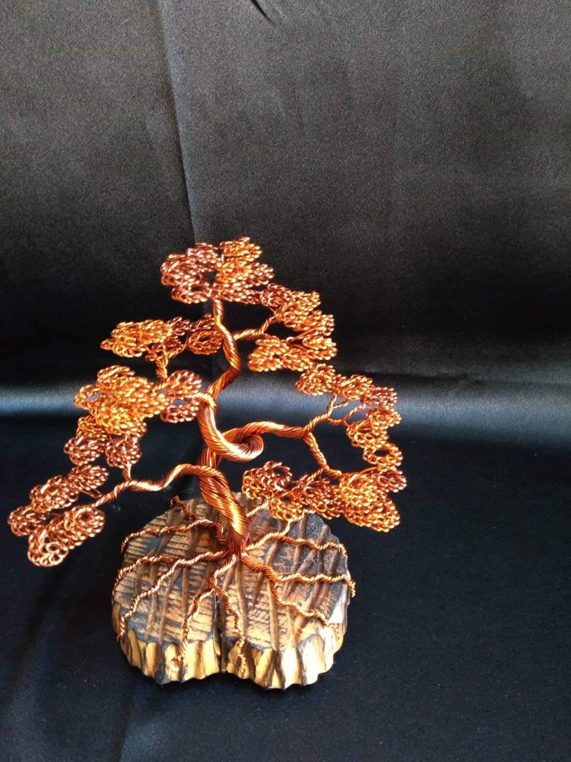 Bonsai wire tree sculpture copper wire tree home decor