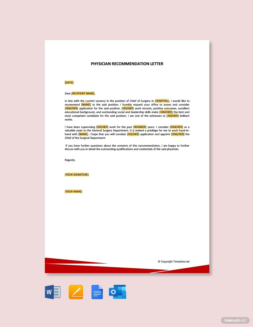 Physician Recommendation Letter Template Free Pdf Google Docs Word Outlook Apple Pages Template Net Letter Templates Free Letter Of Recommendation Lettering